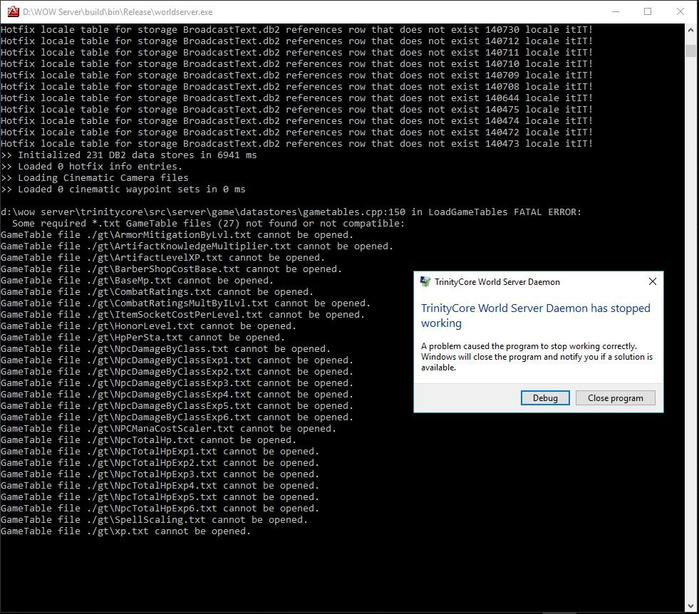 SOLVED]auth/worldserver exe crashing - Solved Issues - TrinityCore